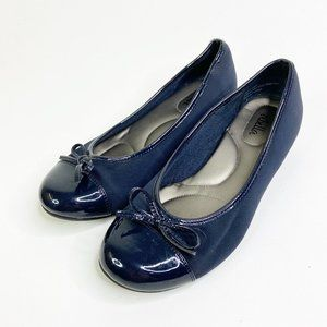 ABELLA Navy Blue Patent Leather Ballet Flats